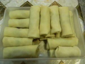 Заготовки блинчиков с начинкой мясной и капустной