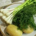 Молодой картофель, укроп и молодой чеснок