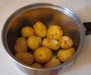 Молодой картофель в кастрюле