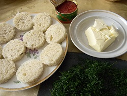 Кружочки белого хлеба