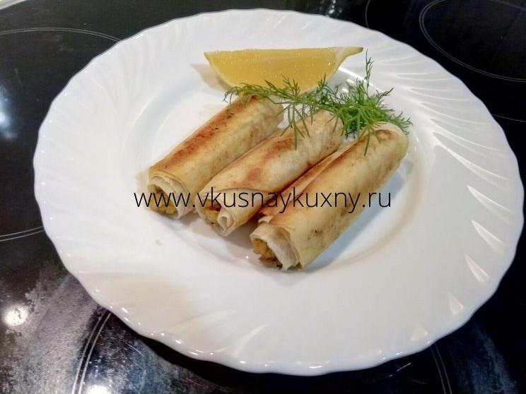 Рыба сиг в армянском лаваше с лимоном
