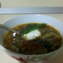 Суп с баклажанами и варенное мясо