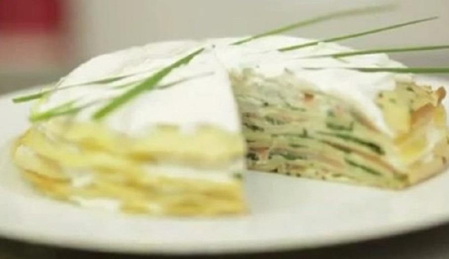 Торт из блинов с семгой