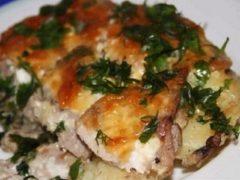 Мясо по французски с картофелем