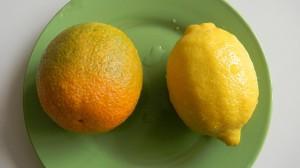 Апельсин и лимон на тарелке