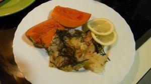 Блюдо из палтуса с тыквой