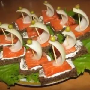 Канапе с красной рыбой на день рождения рецепты с фото
