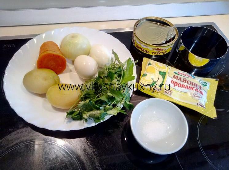 Ингредиенты для салата мимоза в кольце