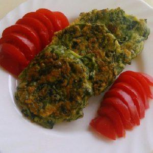 Жареные лепешки со шпинатом постные
