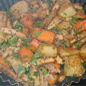 Как сделать курицу с картошкой в духовке с тыквой