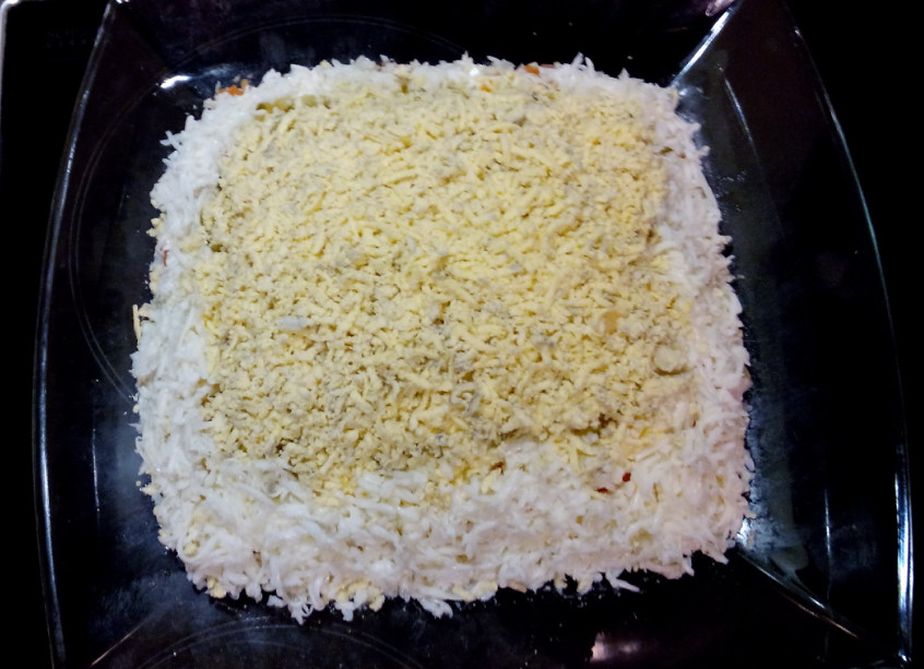 Мимоза с рисом рецепт с консервой