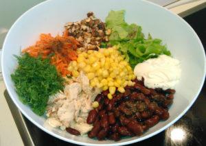 Салат с вареной фасолью и курицей рецепт с фото