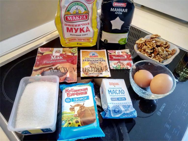 Пирог с маком без дрожжей рецепт с орехами