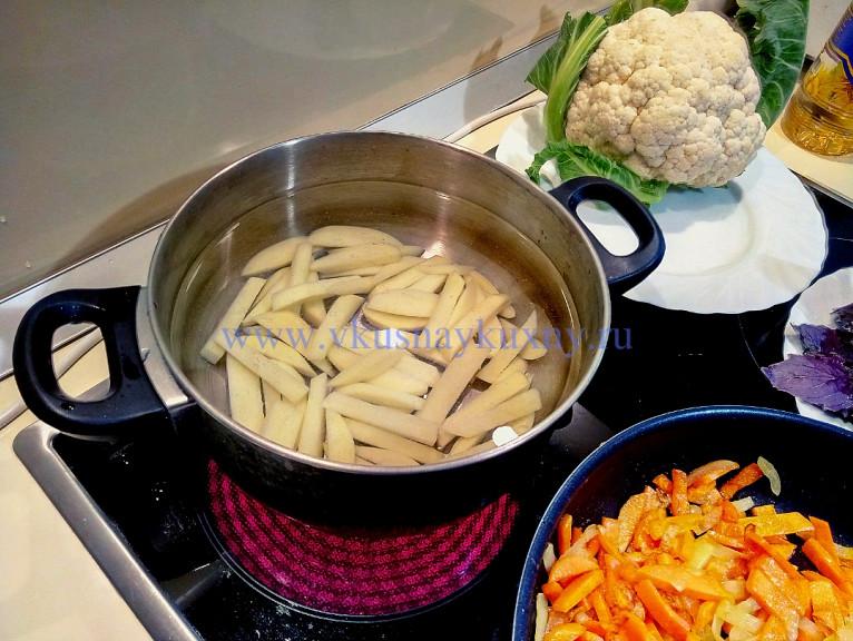 Суп с цветной капустой и картошкой рецепт приготовления пошаговый