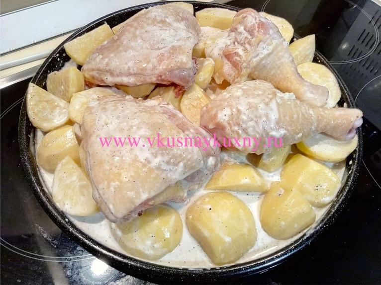 Куриные окорочка с картошкой в духовке рецепт с майонезом и чесноком