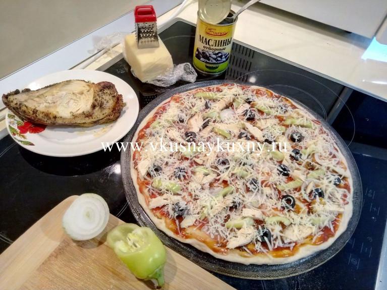 Пицца домашняя рецепт приготовления с курицей