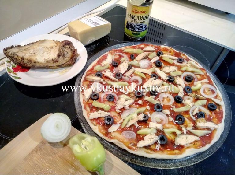 Пицца рецепт приготовления с курицей