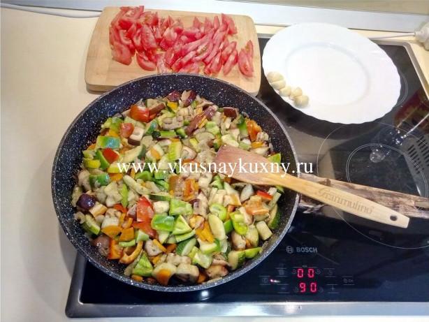 Соте с баклажанами перцем помидорами и луком рецепт с чесноком и зеленью