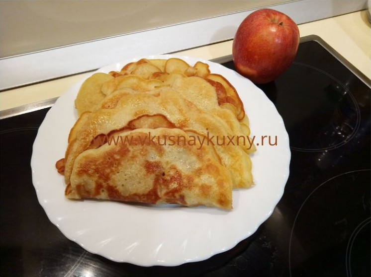 Блины с припеком рецепты с яблоками на сковороде