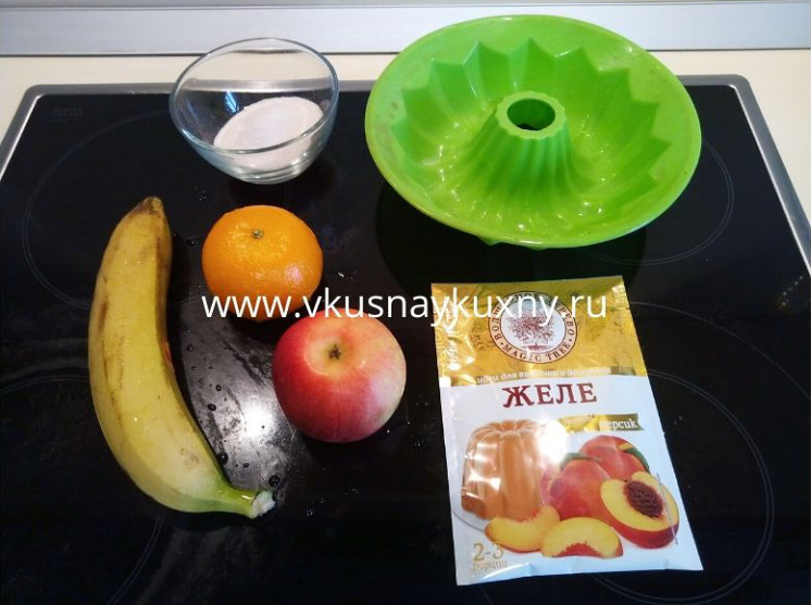 Желе из фруктов и желатина пошаговый рецепт с бананом, мандарином и яблоком