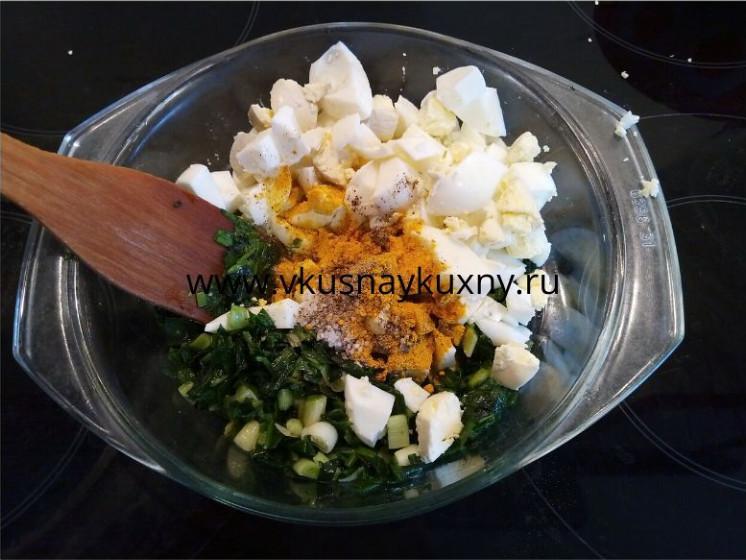 Начинка для пирожков с луком и яйцом с добавлением куркумы