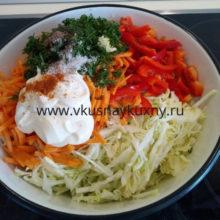 Cалат со свежей капустой и морковью