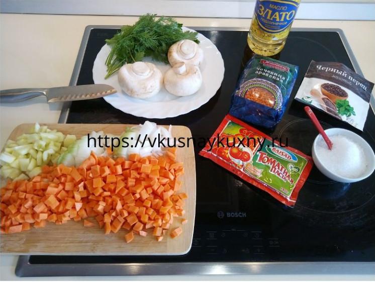Рецепт чечевицы на гарнир с овощами на сковороде