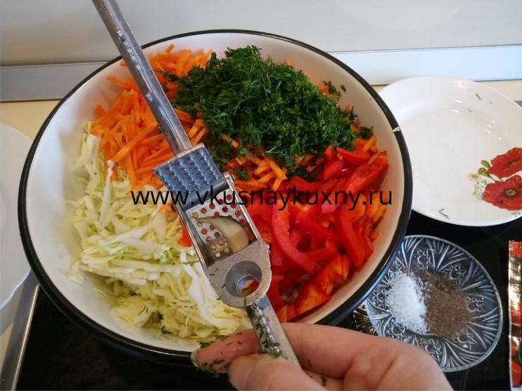 Салат со свежей капустой и сладким перцем и чесноком