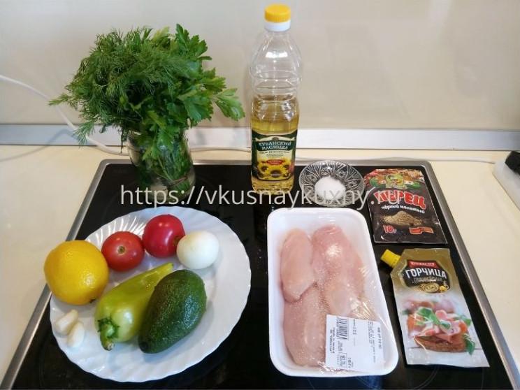 Рецепт салата с авокадо и куриной грудкой пошаговый