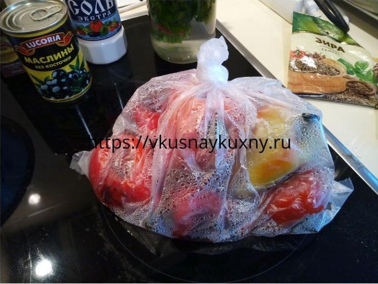 Запаренные болгарские перцы в целофановом пакете для закуски