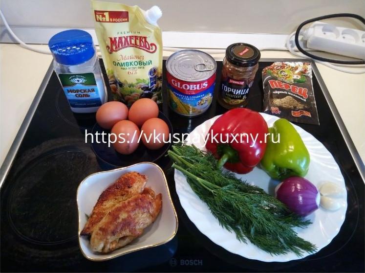 Салат филе куры болгарский перец пошагово