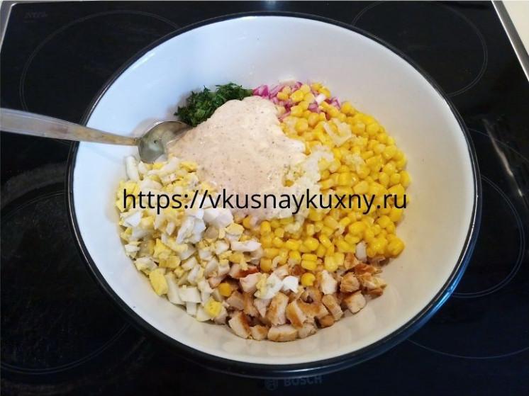 Салат с курицей болгарским перцем и кукурузой пошагово