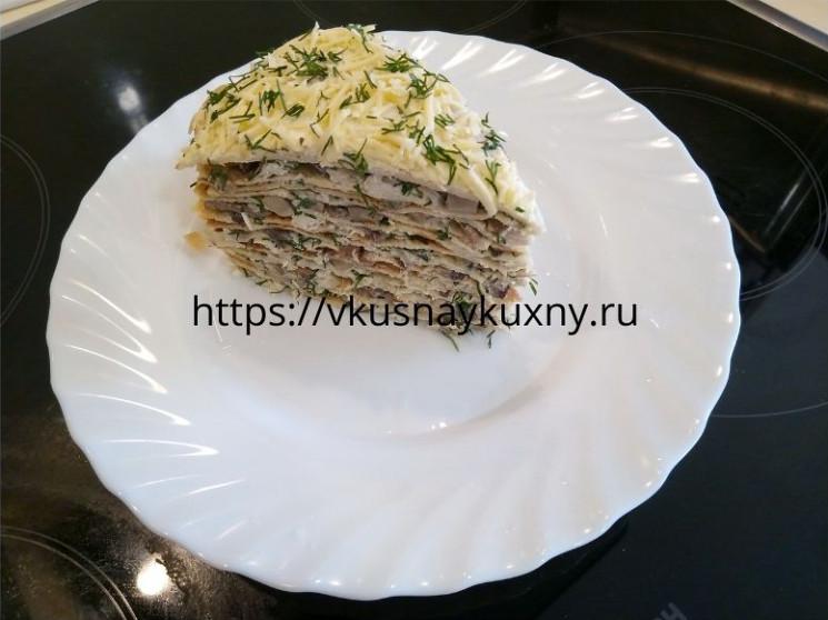 Блинный пирог с курицей и грибами рецепт с фото пошаговым