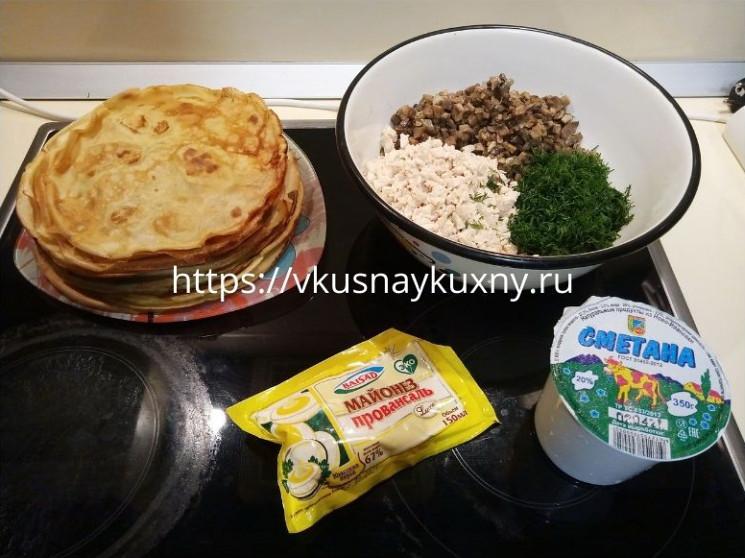 Блинный торт с курицей и грибами рецепт с фото пошагово вкусный