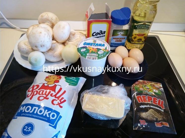 Ингредиенты для блинного торта с курицей и грибами рецепт пошаговый