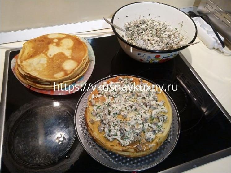 Закусочный торт из блинов с курицей и грибами рецепт пошаговый вкусный