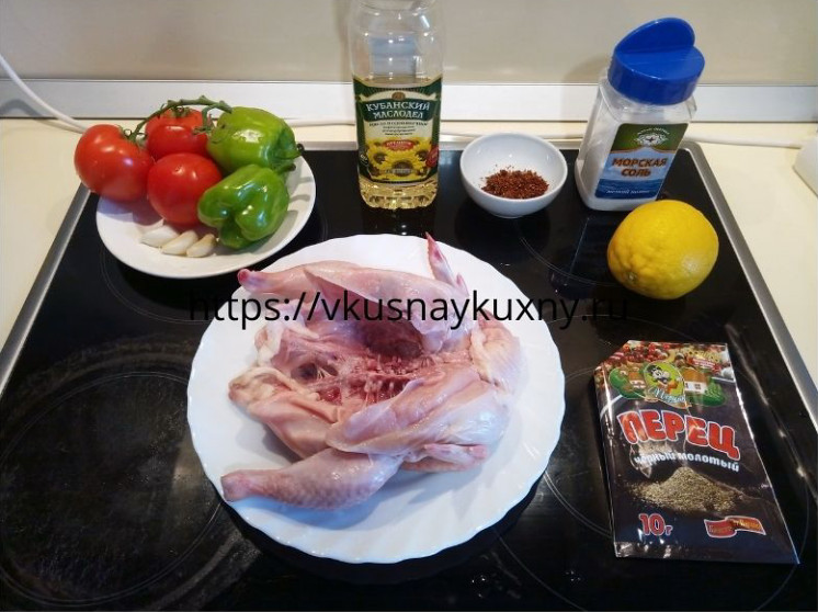 Как приготовить цыпленка табака на сковороде ингредиенты