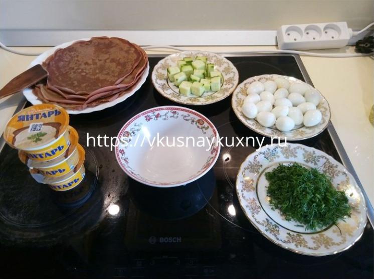Закуска из блинчиков к праздничному столу с фото